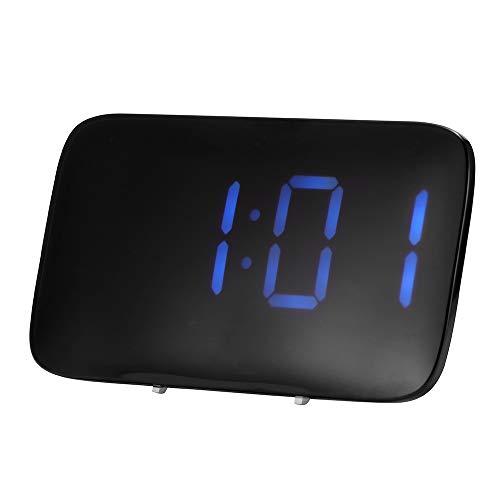 ALLOMN Reloj Despertador, Control de Voz Reloj de Viaje Inteligente Mesa de Escritorio Reloj de Cabecera Pantalla Función de Repetición, Retroiluminación Nocturna, USB y Pilas AAA Alimentados (Azul)