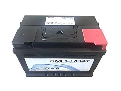 Batería coche 12V 75Ah 720A +Derecha reemplaza E11, E9, TB740, EB740 Gama Plus 278x175x175 con mayor fuerza de arranque