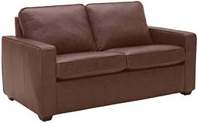 Best Amazon Brand – Rivet Andrews Contemporary Top-Grain Leather Loveseat Sofa with Removable Cushions,