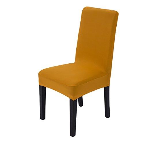 4 Fundas de silla amarillas lavabables - amarillom mostaza