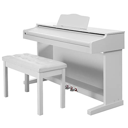 Lowest Prices! HomeSailing Beginner 88 Key Digital Piano White with Bench Folding Flip Cover, 3 Peda...