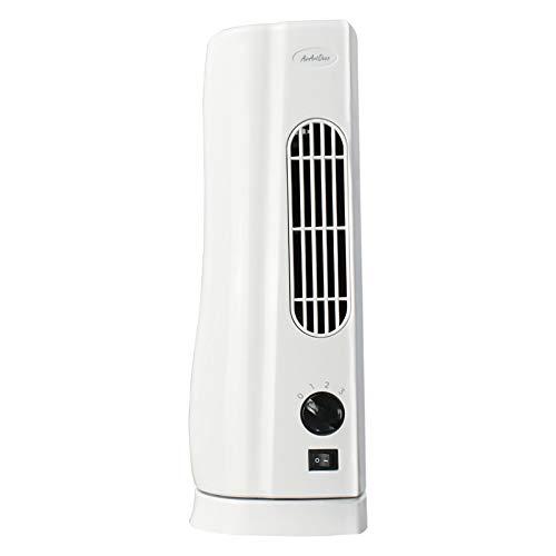 AirArtDeco Mini Ventilador de Torre de 15 Pulgadas (48 cm), 3 Velocidades, Oscilante en 110°, Silencioso, Motor de Cobre, 35 W, Blanco