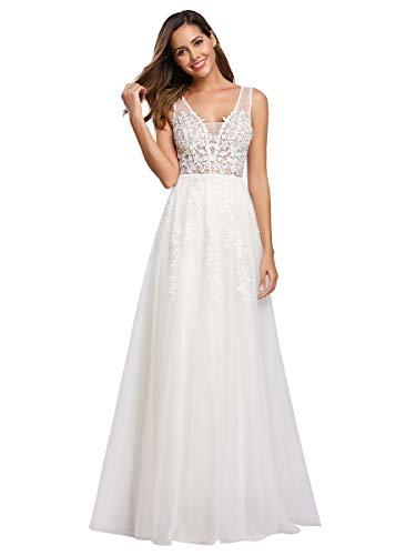 Ever-Pretty Vestito da Sposa Donna A Fiori Tulle Scollo a V Linea ad A Senza Maniche Lungo Bianco 48
