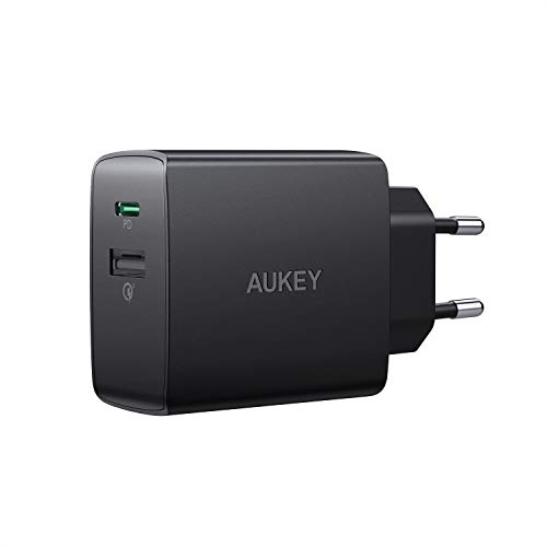 AUKEY USB C Ladegerät mit Power Delivery 2.0 & Quick Charge 3.0, 18 W USB Netzteil für iPhone XS/XS Max/XR, Google Pixel 2/2 XL, Samsung Galaxy S9+/ S8 / Note8 usw. (18W)