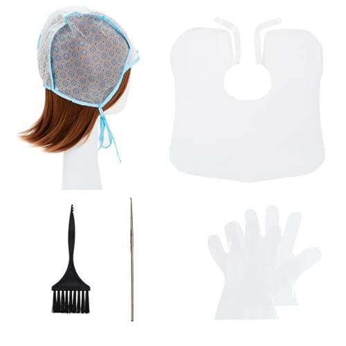 Gorro de mechas tinte desechable, con cepillo de tinte para el cabello, chal, guantes, crochet
