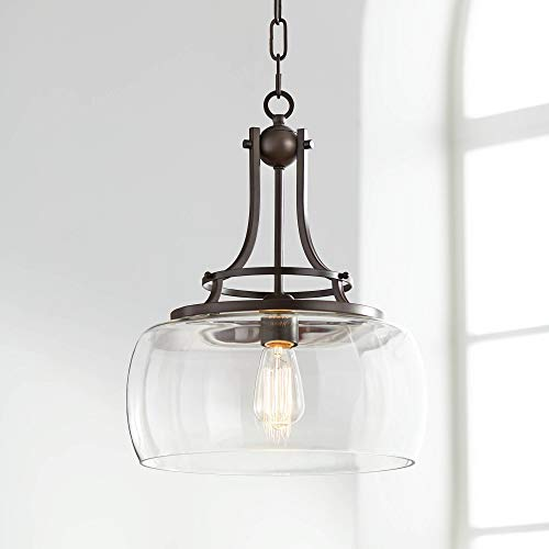 """Charleston Bronze Pendant Light 13 1/2"""" Wide Industrial Rustic Clear Glass Fixture for Kitchen Island Dining Room - Franklin Iron Works"""