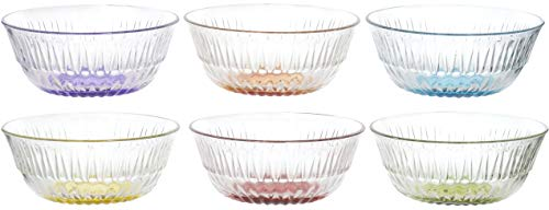 Red Co. Mini Multi Colored Clear Glass Basic Multipurpose Prep and Serving Bowls, Set of 6, 5-inch, 11 oz