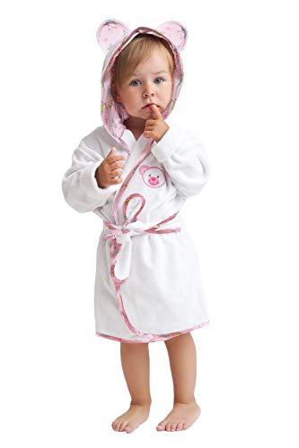 LEVERIE - Albornoz infantil (tallas 86-158), fabricado en la UE Oso de peluche blanco. 104 cm