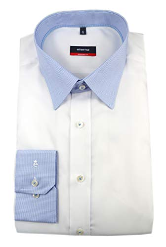 eterna Herren Langarm Hemd Modern Fit ELA Extralange Ärmel (68 cm) Kontrast-Kragen weiß 8141.00.X148.ÄL68 (39, Weiß)