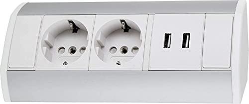 Regleta de aluminio con 2 enchufes y 2 puertos USB de carga, horizontal y vertical, 230 V, 3680 W, color blanco y plateado