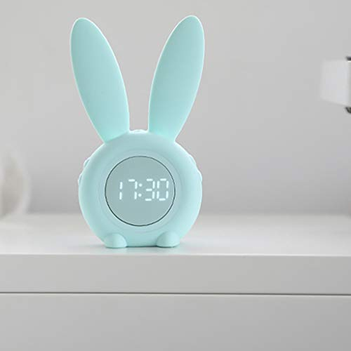 Longra Haushalt Kinder Nachtlicht Bunny Rabbit Lampe Nachttisch Nachtlampe mit Wecker Funktion- Led Voice aktiviert Kinder Mädchen Lichtwecker Wake Up Licht Geschenke für Mädchen Freundin Mama