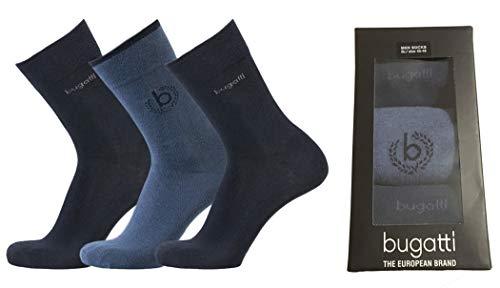 bugatti Mens Socks 3er Pack Giftbox 6762x hell-blau meliert dunkel-blau Socke Geschenkbox Strümpfe, Größe:43-46