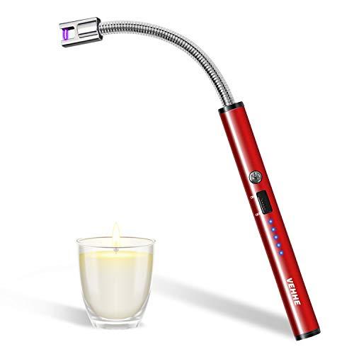 VEHHE Langes Feuerzeug, USB Elektro LED-Display Elektronisches Lichtbogen Feuerzeug Langer Flexibler Hals Geeignet für Küche,Kerzen,Gasherde,Grill