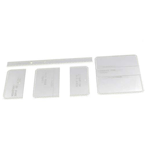 sharprepublic 5 Stück/Satz Klar Acryl Tasche Schablone Vorlage für Lederarbeiten - Brieftasche/Geldbörse/Portemonnaie