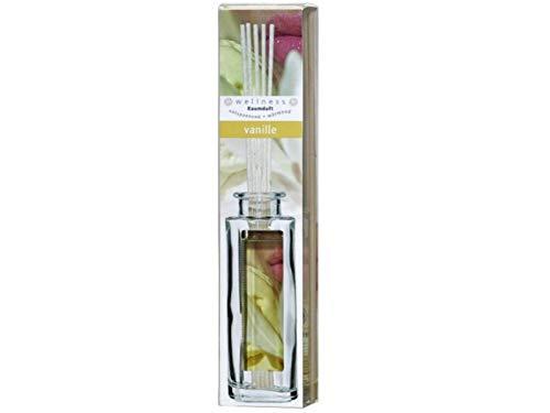 Raumduft in Glasflasche 120ml mit hochwertigen Holzständer und Stäbchen (VANILLE, Duftölflasche mit Stäbchen)