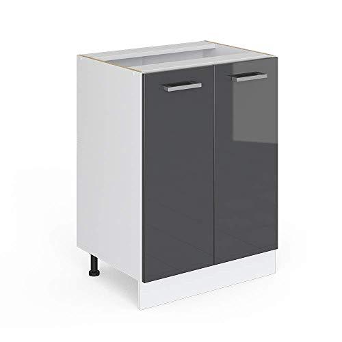 Vicco Küchenschrank R-Line Küchenzeile Hängeschrank Unterschrank Küchenschränke Küchenunterschrank Arbeitsplatte (anthrazit ohne Arbeitsplatte, Unterschrank 60 cm)