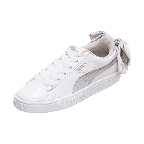 Puma Basket Bow Dots Jr, Zapatillas para Niñas, Blanco White-Silver Gray 3, 39 EU