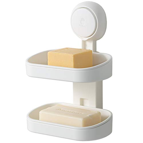 Soap Dish Suction Cup Double Layer Suction Cup Soap Holder NO-Drilling & Removable Bar Soap Holder Bathroom Suction Cup Soap Dish Powerful Shower Soap Holder Waterproof Soap Dish for Shower Bathroom