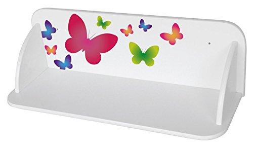 Leomark Etagere Sur le Mur Blanc Etagere Murales En Bois Motif: Papillons Etagere D'Angle Suspendue Blanc Moderne Rangement Meuble de Rangement
