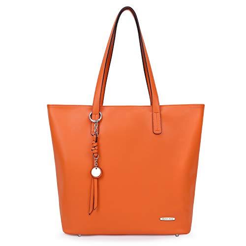 Pomelo Best Handtasche Damen Shopper Groß Damen Tasche für Büro Schule Einkauf (Einfarbig Orange)