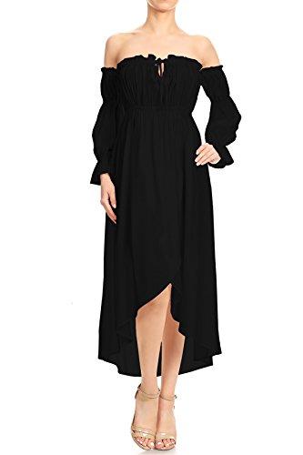 Anna-Kaci Womens Boho Long Sleeve Off Shoulder Renaissance Peasant Dress, Black, X-Large