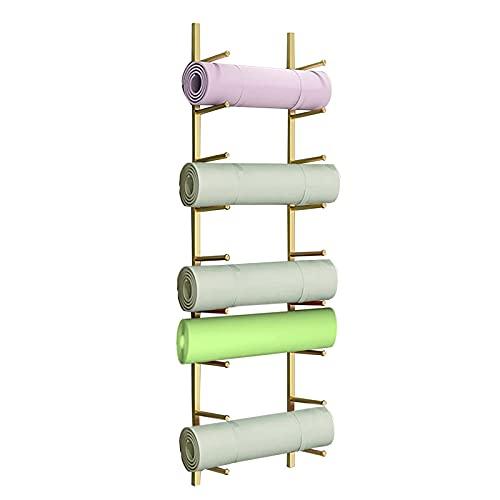 Almacenamiento de Rodillo Espuma/Esterilla Yoga Soporte para Esterilla De Yoga para Montaje En Pared 9 Compartimentos, Estante De Almacenamiento De Gimnasio En Casa para Rodillo De Espuma, Toallas De