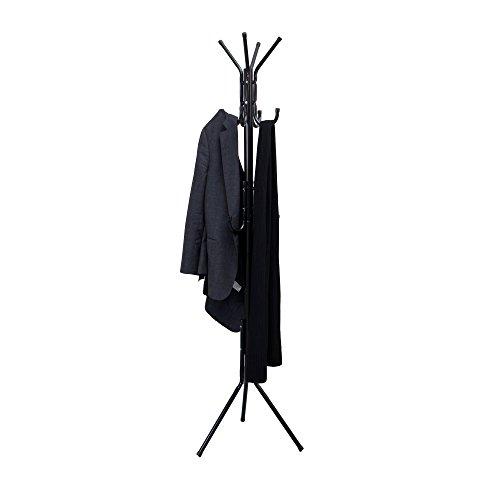 Mind Reader COATRACK11 Standing Metal Coat Rack Hat Hanger 11 Hook for Jacket Purse Scarf Rack Umbrella Tree Stand Black