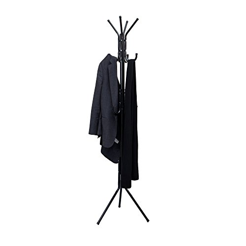 Mind Reader COATRACK11 Standing Metal Coat Rack Hat Hanger 11 Hook for Jacket, Purse, Scarf Rack, Umbrella Tree Stand, Black