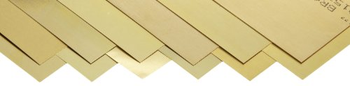 260 Brass Sheet, Unpolished (Mill) Finish, Half Hard Temper, 0.001-0.015' Thickness, 6' Width, 12' Length (Pack of 12)