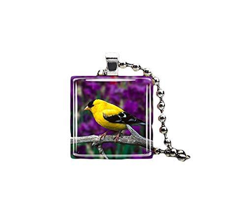 Amarillo servilletas de azulejos de cristal pájaro colgante, collares, joyas de cristal de arte puro hecho a mano