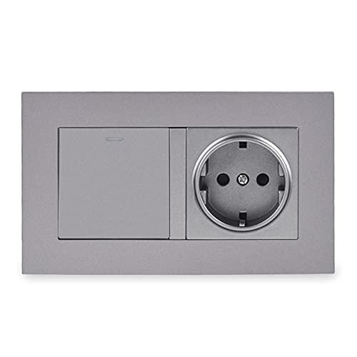 YUANJING-Switch PC Panel de pared Socket + 1 Gang 1 Way Interruptor de luz basculante de encendido/apagado blanco, negro, dorado, gris (voltaje clasificado: 110-250 V, tipo: gris)