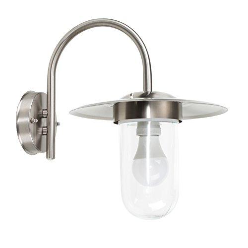 MiniSun – Moderna Farola de Pared Exterior - Acero Inoxidable - Diseño Linterna Pescador - Protección IP44 - Aplique pared - iluminación Exterior