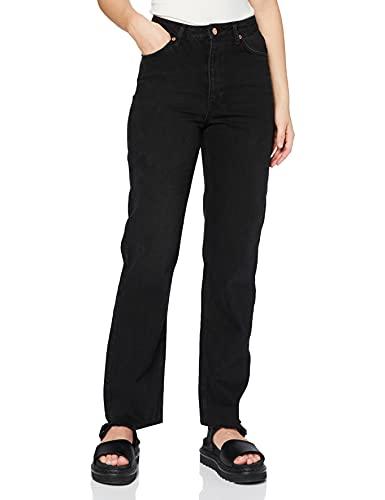 NA-KD Straight High Waist Raw Hem Jeans, Noir délavé, 38 Femme