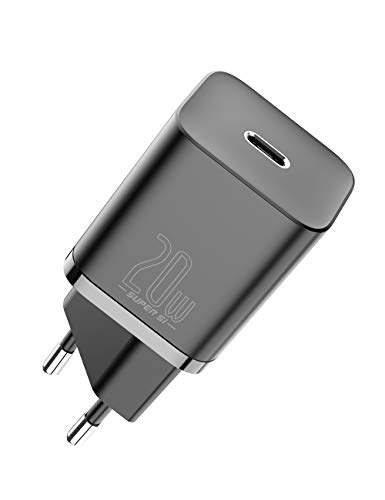 Baseus Super Si Cargador USB C de 20W, Cargador Rápido Mini PD 3.0 Tipo C, Adaptador de Cargador de Pared Ultracompacto para iPhone 12/12 Mini/12 Pro/12 Pro MAX, 11/11 Pro/11 Pro MAX, iPad Air.