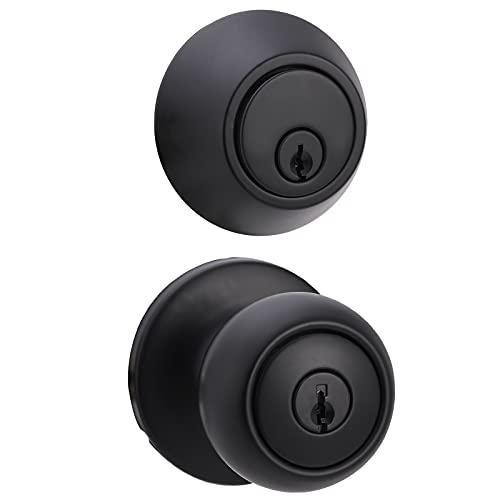 Amazon Basics Exterior Door Knob With Lock and Deadbolt, Coastal, Matte Black