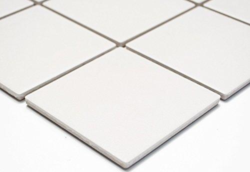 Mosaik Quadrat uni weiß rutschhemmend R10B Keramik rutschsicher trittsicher anti slip rutschfest Duschtasse Boden Küche Bad WC, Mosaikstein Format: 97x97x6 mm, Bogengröße: 60 x 100 mm, 1 Handmuster ca. 6x10 cm