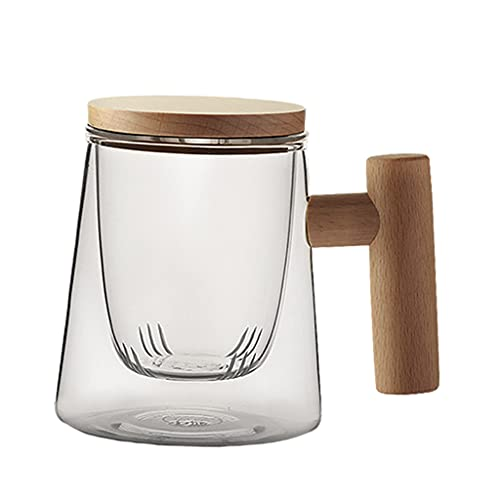 Baoblaze 300ML Creative Household Heat-Resistant Borosilicate Glass Transparent Tea Cup Mugs w/Wooden Lid Handle Drinkware for Water Milk Coffee - Beech with Filter