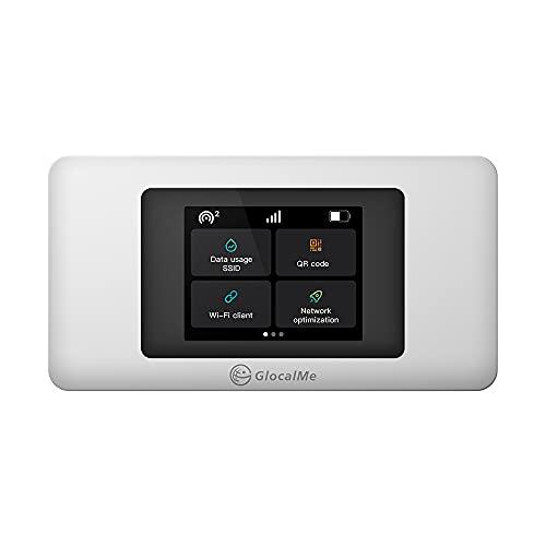 GlocalMe U3X mobiler WLAN Router, Keine SIM-Karte erforderlich, Kein Vertrag, 3500mAh Akku, LCD Display Dual-Modem mobiler Hotspot, Abdeckung von 140+ Ländern und Regionen, 4G LTE Router (Weiß)