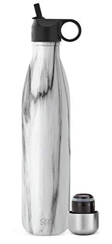Simple Modern Apex Botella Agua Acero Inoxidable Térmica con 2 Tapas: Pajita Reutilizable y Atornillable 355/470/590/710ml Prueba De Fugas Termo sin BPA 24 Horas Frio Botellas para Niños Doble