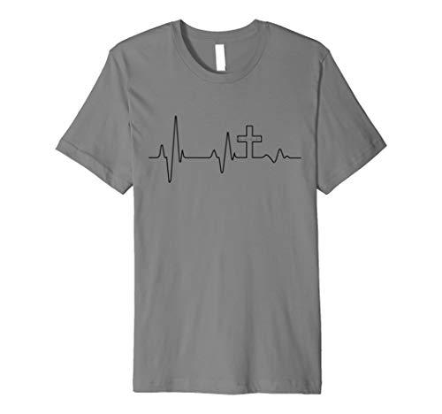 Christian T-Shirt–Jesus Christus Herzschlag Kreuz Faith Hope