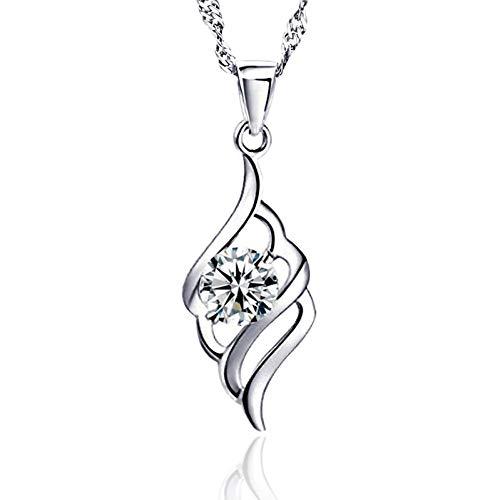 Likass Ms. 925 Sterling Silver Necklace Silver Pendant, La Mejor Opción para El Día De San Valentín, Regalo De Año Nuevo, Recuerdo De Aniversario,Símbolo De Amor-Pluma De Ángel