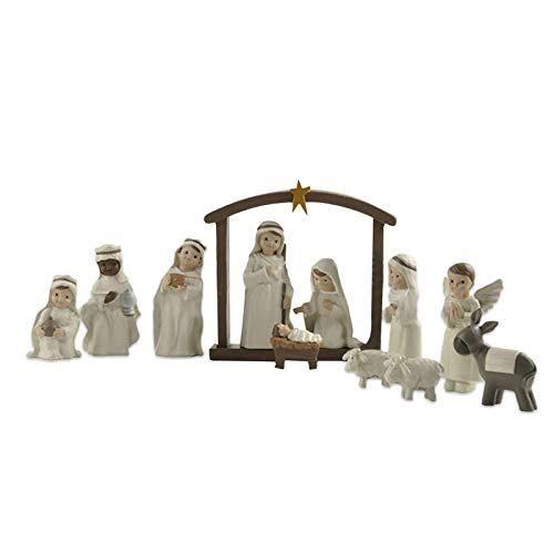 AIHOME Nativity Set Small Figurines for Nativity Scene, Religious Gifts Precious Moment Christmas Manger Nativity Sets for Kids, Rustic Farmhouse Style
