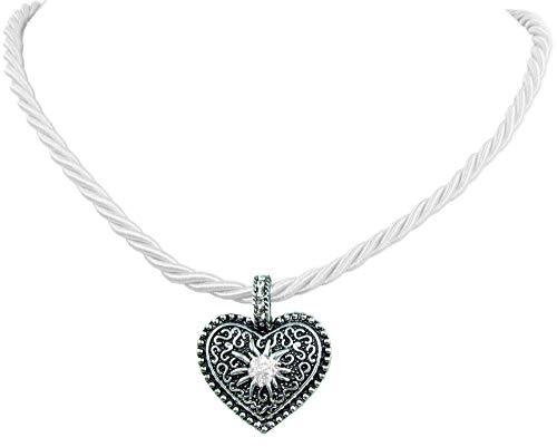 Kordel Halskette Mina mit Herz und Strass - Weiß