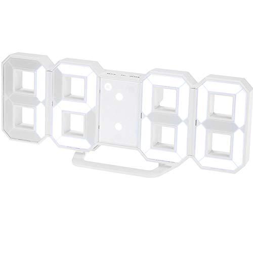 MeterMall CE LED Wandklok Wekker Digitale 3D Woonkamer Explosie Modellen Elektronische Klok Kleur: wit