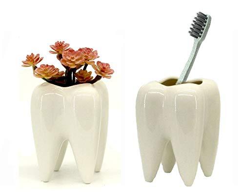 Clound city Teeth Pots White Ceramic Succulent Mini Planter Pot/Flower Planters/Home Decoration Vase (2PCS)