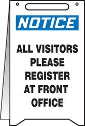 Accuform NOTICE ALL VISITORS PLEASE REGISTER AT FRONT OFFICE (PFR635)