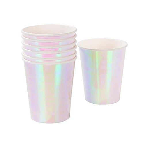 Talking Tables We Heart Pink; hoogglans beker in pasteltinten voor verjaardagen (motieven: eenhoorn, zeemeermin, kinderfeest), roze, 250 ml (12 per verpakking)
