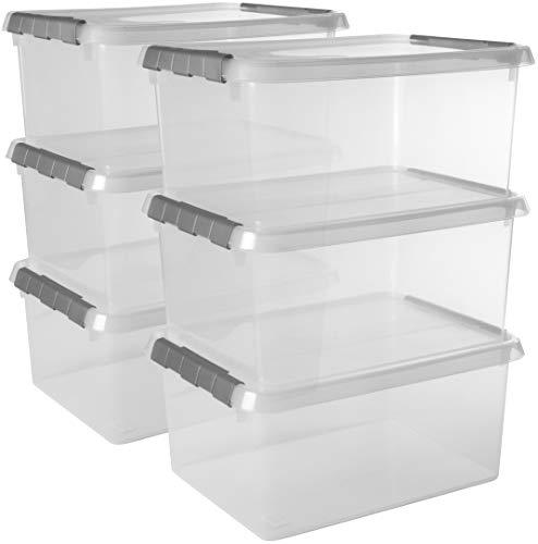 Sunware Comfort Line - Lot de 6 boîtes de Rangement - 15L - Transparent/Gris – Plastique