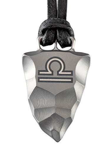 Element of Gods Titan Faustkeil Sternzeichen Waage Amulett aus Reintitan Herrenschmuck Anhänger Lederband (70)