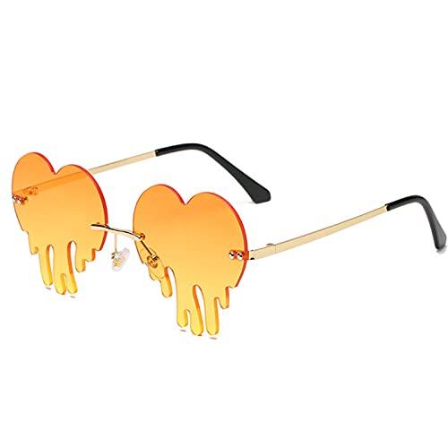 CHYSJ Gafas de Sol de Moda Divertidas, fusión de Las Gafas de Fiesta de Moda en Forma de corazón con Forma de corazón, Gafas de Fiesta Divertidas sin Llantas